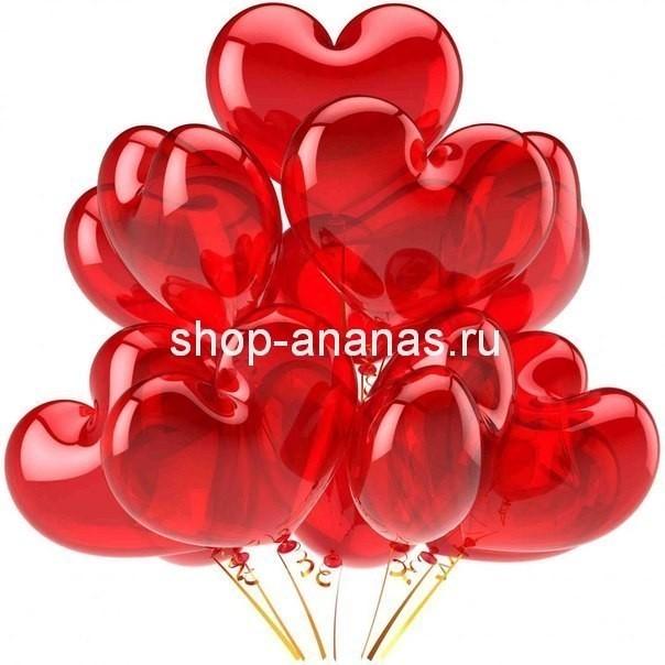 набор красных гелиевых шаров сердец